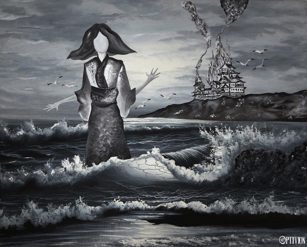 Optivion - Oil on canvas - Japan is burning