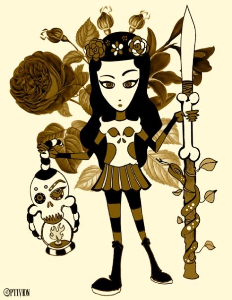 shela skull sepia by OptivioN