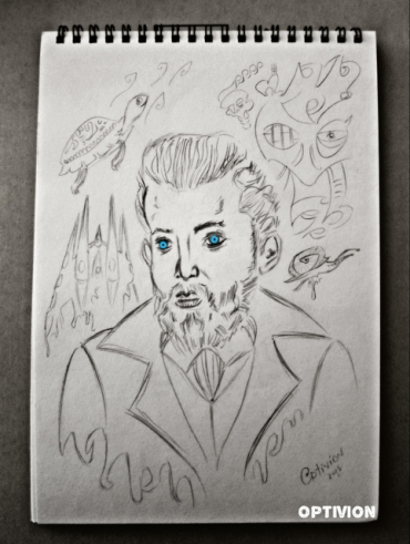 Artist Antoni Gaudí sketch by Optivion