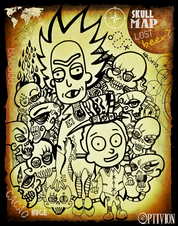 optivion - rick and morty new wave retro skull city lost #map